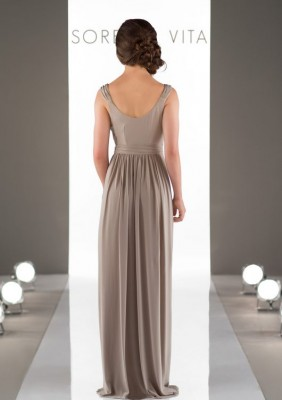 WRAP BRIDESMAID DRESS WITH CAP SLEEVES 8874